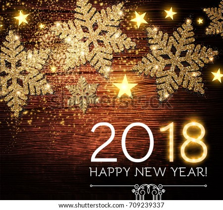 happy new 2018 year background with shining gold textured snowflakes on wood texture vector illustration