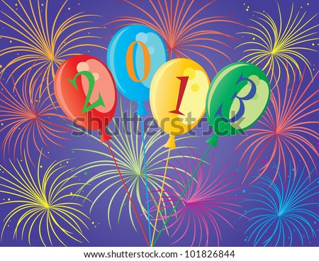 Happy New Year 2013 Balloons with Fireworks Background Illustration - stock vector