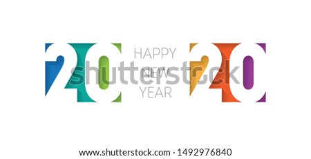 Happy new year 2020 banner. Brochure or calendar cover design template. Cover of business diary for 20 20 with wishes. The art of cutting paper.