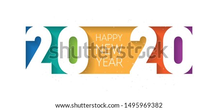 Happy new year 2020 banner. Brochure or calendar cover design template. Cover of business diary for 20 20 with wishes. The art of cutting paper. Headline.