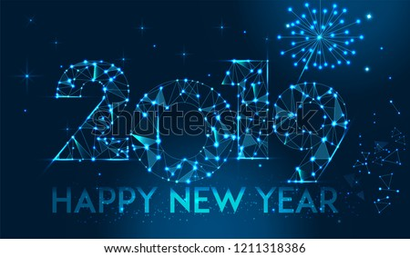 Happy new year 2019 banner design. Geometric polygonal 2019 new year greeting card. Vector firecracker background. Low polygon.