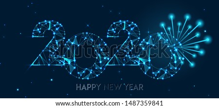 Happy new year 2020 banner design. Geometric polygonal 2020 new year greeting card. Vector firecracker background. Low polygon.