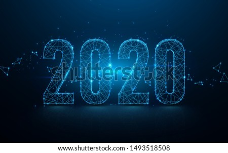 Happy new year 2020 banner from lines, triangles and particle style design. Illustration vector