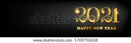 Happy new year 2021 banner.Golden Vector luxury text 2021 Happy new year. Gold Festive Numbers Design. Happy New Year Banner with 2021 Numbers