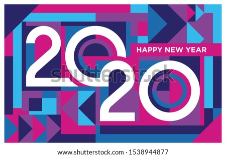 Happy new year 2020 banner in abstract geometric shape design. 2020 lettering in colorful cubisme art. Trendy bauhaus 2020 typography. Happy new year card in memphis style. Eps10.