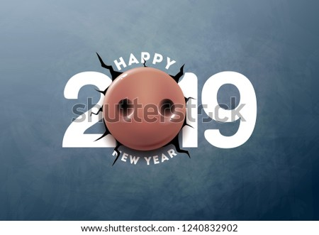 Happy New Year banner, poster, flyer. Pig nose. Realistic pig snout. 2019 year of pig, chinese new year. Wallpaper. Creative design. Vector illustration