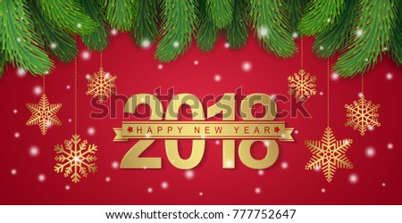 happy new year 2018 banner template christmas tree golden hanging stars ribbons and snow