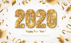 Happy New Year Banner with Gold 2020 Numbers on Bright Background with Flying Confetti and Streamers. Vector illustration