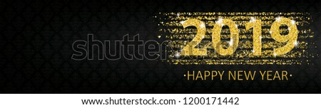 Happy new year 2019 banner with golden sand and ornaments. Eps 10 vector file.