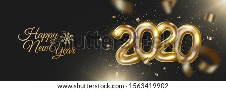 Happy new 2020 year banner with realistic golden numbers and confetti, tinsel. Festive decoration on dark background. Vector holiday illustration for banner, postcard, website.