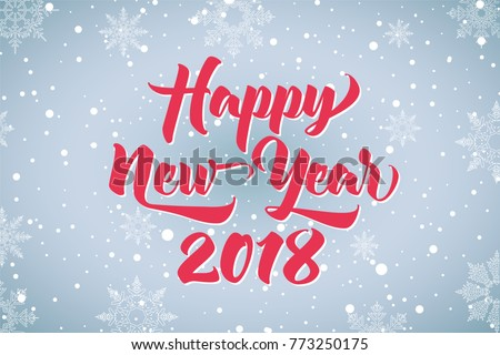 happy new year 2018 beautiful greeting card calligraphy text word red stars hand drawn