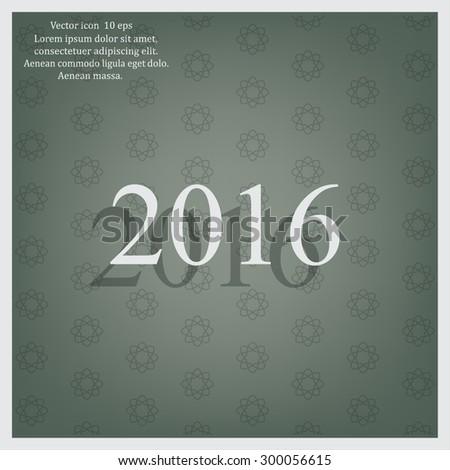 Happy new year 2016 - black vector icon  #300056615