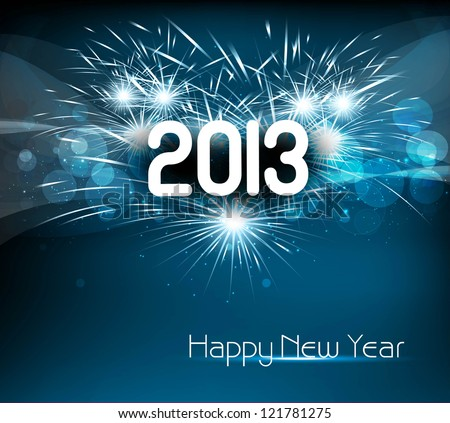 Happy new year 2013 blue colorful celebration vector background - stock vector