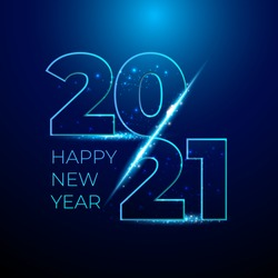 Happy 2021 new year blue number with bright sparkles. Festive premium design template for greeting card, calendar, banner. glowing lights circle on black background. Vector illustration