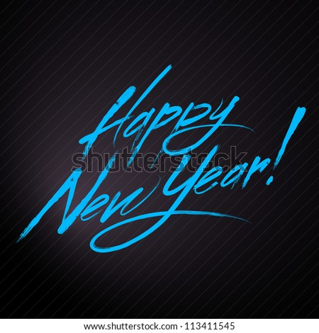 happy new year blue text for
