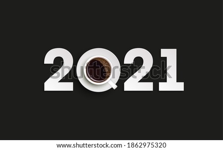 Happy New Year 2021 breakfast coffee background. Greeting card 2021 cup of coffee flyer, 3D illustration