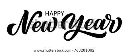Happy new year brush hand lettering, isolated on white background. Vector type illustration. Perfect for holidays festive design.