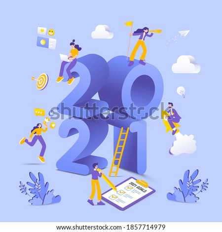 Happy new year 2021. 2021 business goals concept illustration.  Marketers doing social media marketing, seeking new opportunities, flying on rocket and checking resolutions list for new year