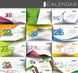 Happy new year 2016 calendar design.
