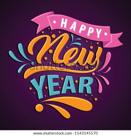 Happy New Year candy style for greeting card or background. Vector letter Happy New Year for element design. Vector illustration EPS.8 EPS.10