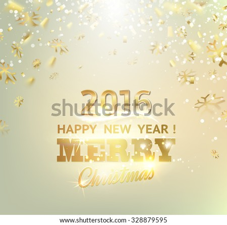 happy new year card gold template over gray background with golden sparks happy new