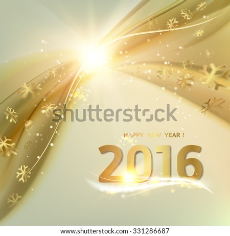 Happy new year card. Gold template over gray background with golden sparks. Happy new year 2016. Gray underwater abstraction. Fallen sparks and sun rays in the gray area. Vector illustration.