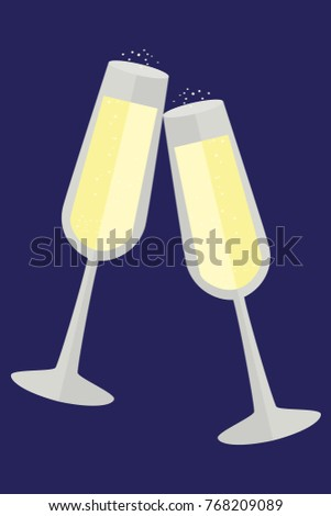 happy new year card in flat simple style two glasses of champagne vector illustration