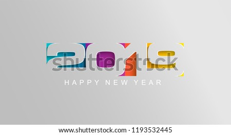 Happy 2019 new year card in paper style for your seasonal holidays flyers, greetings and invitations cards and christmas themed congratulations and banners. Vector illustration.