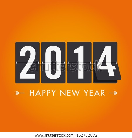 Shutterstock Happy new year 2014 card. Mechanical timetable in movement