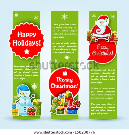 Happy New Year Card Merry Christmas banners set Vector Illustration eps10 contains transparencies