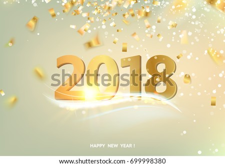 happy new year card over gray background with golden confetti text sign 2018 year