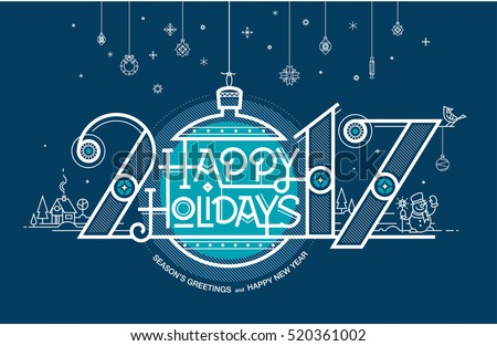 Happy New Year card, Season\'s greetings and Happy New Year