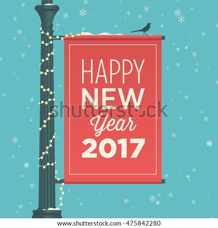 Happy new year 2017 card, street sign, editable vector design