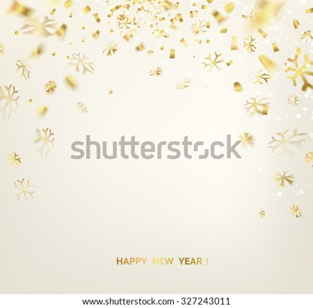 Happy new year card template over gray background with golden sparks. Happy new year 2016. Holiday card. Template for your design. Vector illustration.