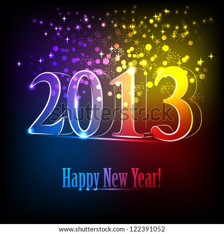 Happy New Year 2013 card, vector