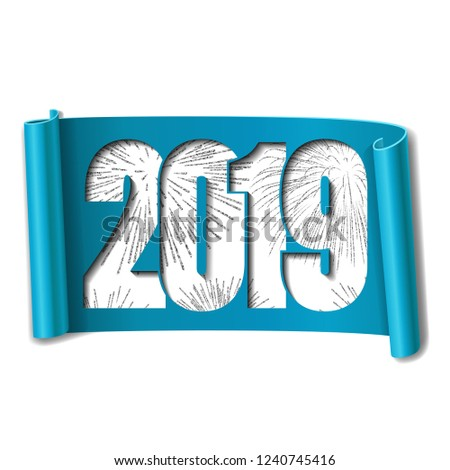 bright design happy new year card white number 2019 silver firework 3d scroll isolated white background