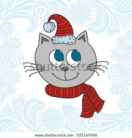 happy new year card with cute cartoon cat vector illustration