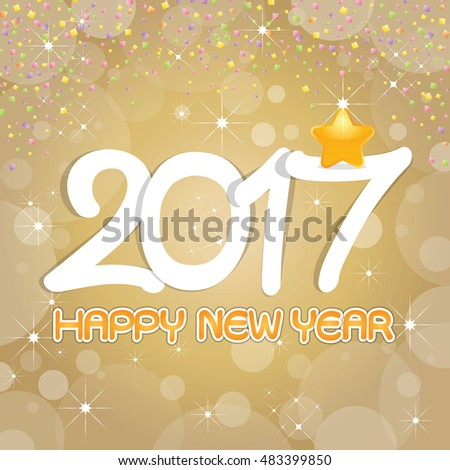 Happy New Year 2017 Card with fireworks glowing fire on background blurred. Poster, greeting card, banner or invitation. Vector illustration EPS 10 #483399850