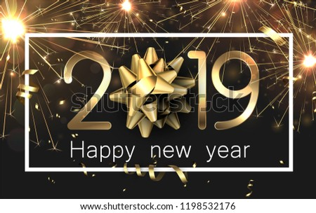 Happy New Year 2019 card with gold bow, serpentine and firework. Vector background.