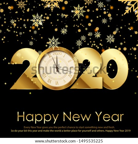 happy new year card with gold