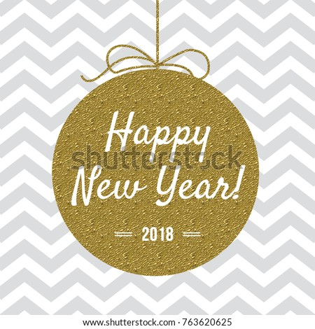 Happy New Year 2018 card with gold detail