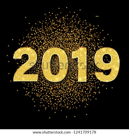 Happy New Year 2019 card with golden shiny figures and confetti. Vector background. #1241709178