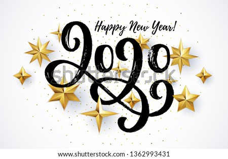 happy new year 2020 card with