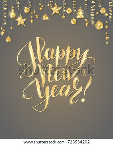 happy new year card with hand written lettering holiday background with sparkling typography golden