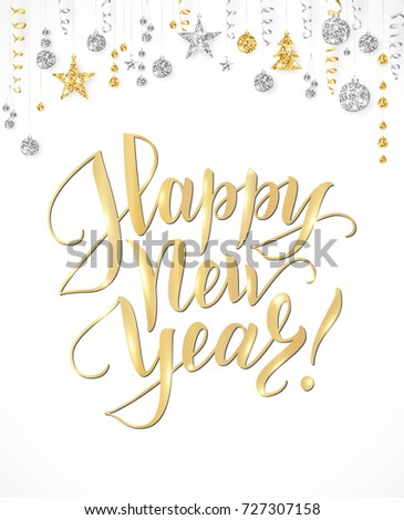 happy new year card with hand written lettering holiday background with sparkling typography gold