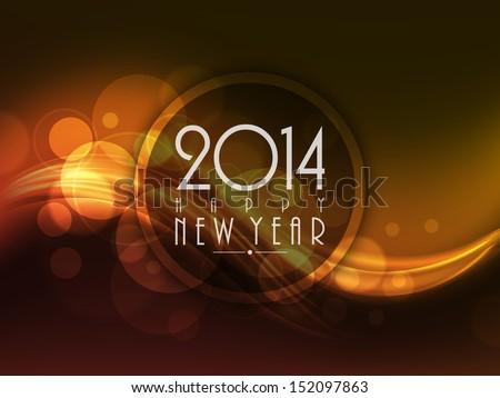 Happy New Year 2014 celebration background with shiny wave.  Сток-фото ©