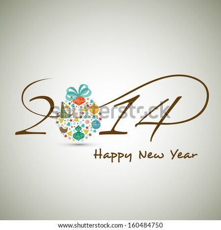 Happy New Year 2014 celebration background with stylish text colorful Xmas ball on abstract grey background.
