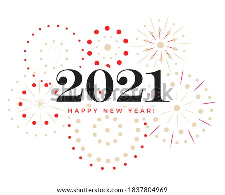 Happy New Year celebration card, color 2021 numbers with fireworks, vector illustration