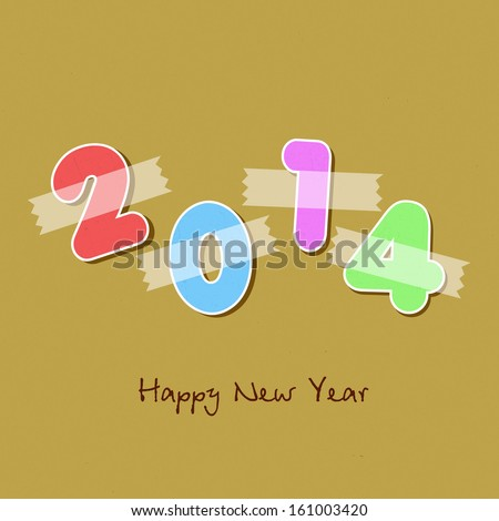 Happy New Year 2014 celebration concept with colorful glossy text on brown background, can be use as flyer, banner or poster.