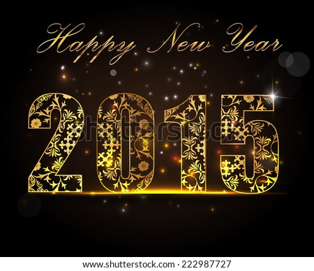 Happy New Year 2015, celebration concept with golden text on beautiful glow in the night - vector EPS10 #222987727